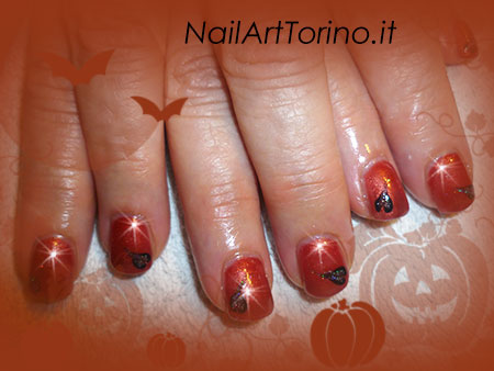 Nail Art Arancione Nero