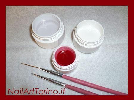 Nail Art Cuori Bianco Rosso Materiali