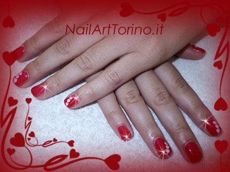 Nail Art Cuori Bianco Rosso