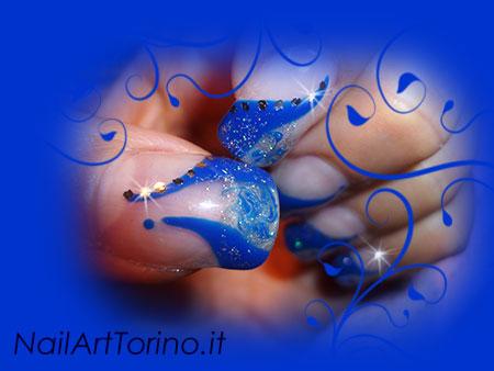 Unghie Fantasia Glitter Blu Dettaglio