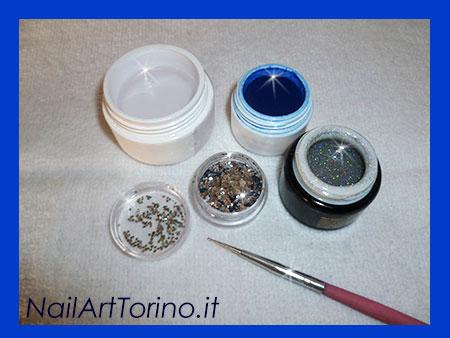 Unghie Fantasia Glitter Blu Materiali