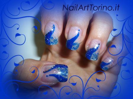 Unghie Fantasia Glitter Blu