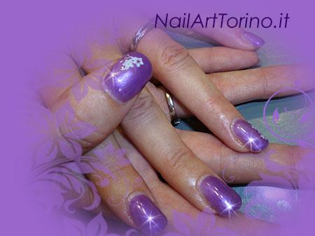 Nail Art Lilla Perla Dettaglio