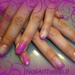Unghie Decorate Gel Swarovski Fucsia