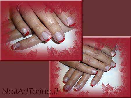 Unghie Gel Per Natale French Rosso