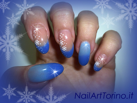 Nail art termico effetto neve