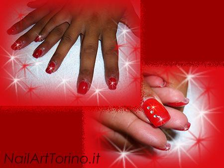 Unghie Gel Per Natale Swarovski Rosso