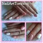 nail art zebrato rosa bianco